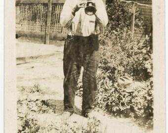 vintage photo 1920 Older Man Blowing Trumpet in Garden Makes Music
