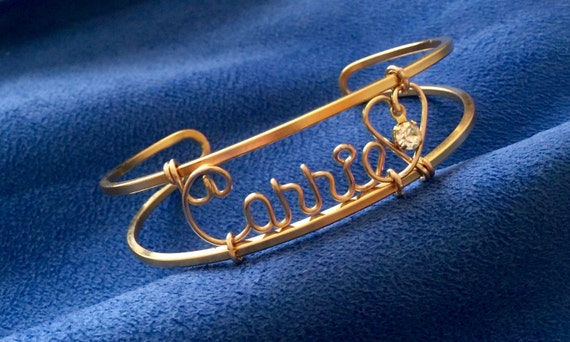 Personalized Gold Wire Name Bracelet/Cuff/Bangle~Heart and Swarovski Birthstone~Any Name~Handcrafted just for you