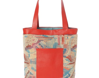 SALE Red blue tote bag with leather details, Geometric patterned tote bag, Red shopping bag, Fabric and leather bag, Gift for women, MALAM