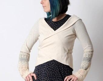 Ivory wrap shrug, Light beige Chameleon jersey wrap with lace sleeves, Cream wrap cardigan, Womens clothing, Jersey bolero, MALAM