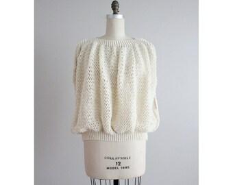 bubble sweater / cream sweater / crochet sweater