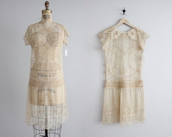 1920s linen tambour lace dress / vintage 20s dress / 1920s wedding