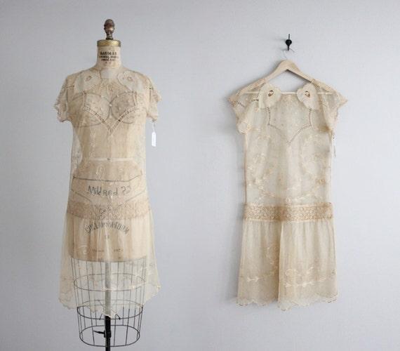 Ann es 1920 tambour lin dentelle robe vintage des ann es 20 - Robe vintage annee 20 ...