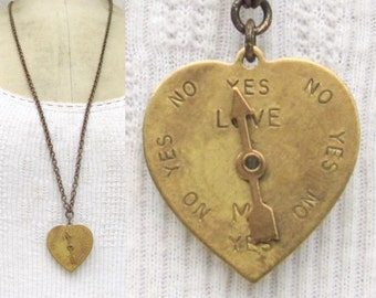 Vintage heart necklace *BULK DISCOUNT* spinner charm. Love Meter. arrow. mixed metals. hipster. boho. steampunk. cute. sweet. valentine k15