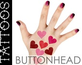 Heart Temporary Tattoos in Shades of Red - Halloween Costume Accessories - Queen of Hearts Costume