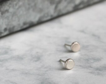 Simple Silver Studs - Handmade Recycled Jewellery | simple silver studs | circle silver studs | round silver studs | everyday studs