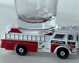 the ORIGINAL Hot Shots Shot Glass,'75 CF Mack Pumper, Fire Truck. Fire Engine