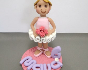 Standing Ballerina Girl polymer clay Birthday Cake Topper decoration figurine Made To Order