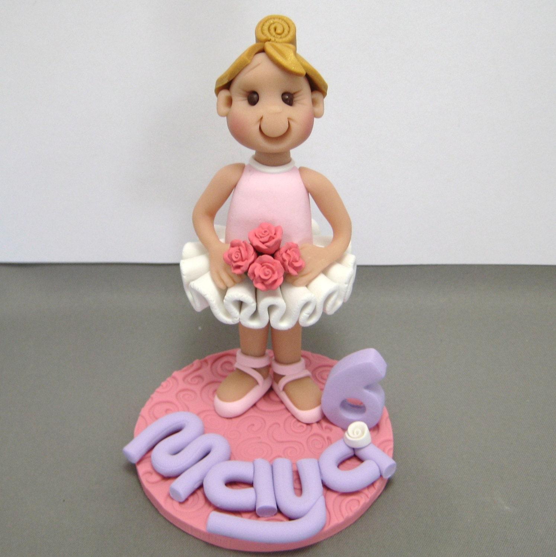 Standing Ballerina Girl Polymer Clay Birthday Cake Topper
