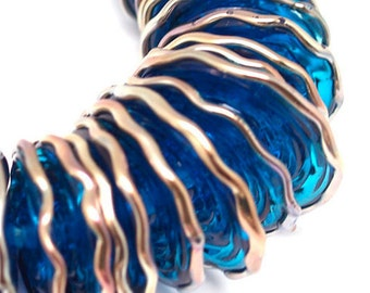 Pearly blue and metallic ends (28) Lampwork beads SRA made to order