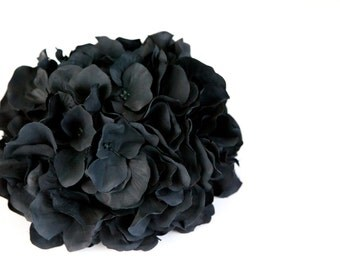 OVER 90 Hydrangea Petals in Black -  Silk Flowers, Artificial Flowers - ITEM 0184