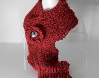 Alpaca Short Scarf or Neck Warmer in Red