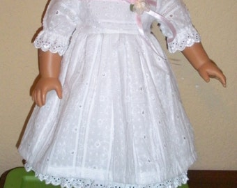 White Eyelet Party dress---18 inch -doll dress--free shipping