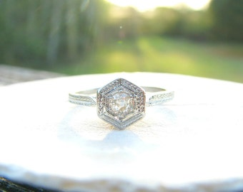 Sweet 1920's Art Deco Diamond Engagement or Promise Ring, Fiery Old Mine Cut Diamond, Hand Engraving, 18K White Gold