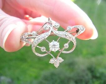 Antique Art Nouveau Diamond Pendant Necklace and Brooch, Fiery Old European Cut Diamonds, Elegant Design, Fine Quality, appr .76 ctw