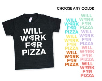 Will Work For Pizza TriBlend Heather Black Kids Toddlers TShirt - Funny Text, Matching, Food Lover, Party, Birthday Shirt, Christmas Gift