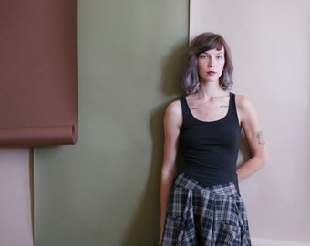 Plaid skirt with pockets. Full circle skirt with tall waistband. Custom made, one at a time. Flowy skirt, fit and flare cut.