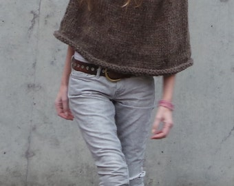 Brown poncho, cowl neck, snuggle up poncho, women's brown alpaca poncho,