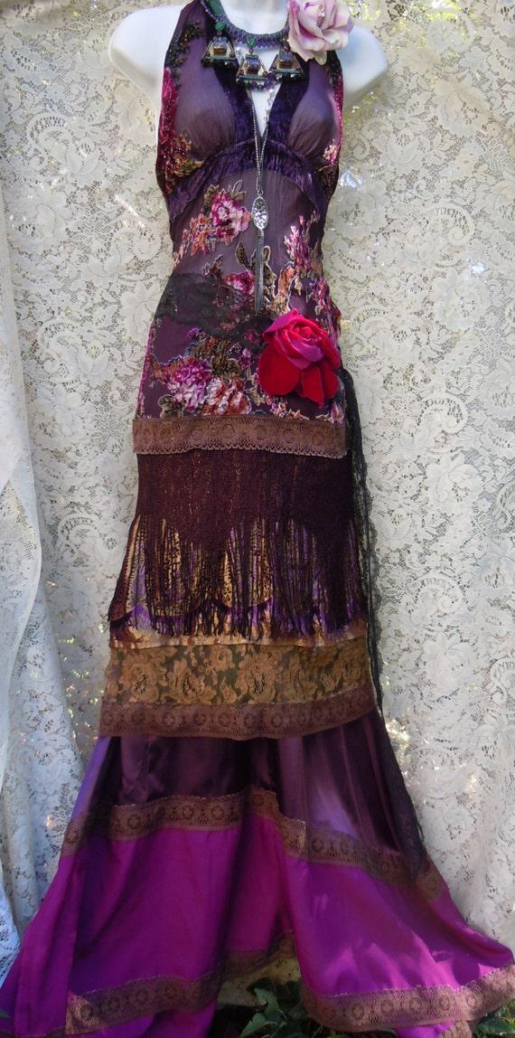 Purple Boho Dress Velvet Silk Lace Fringe Roses Hippie Gypsy