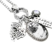 Memorial Jewelry, Sterling Silver, Stainless Steel Memorial Necklace, Photo Memorial Jewelry, Victorian Beaded Frame