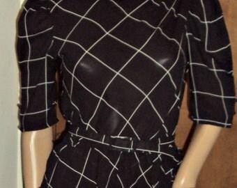 Vintage Charlee Allison for Eljay, Size 5/6 Dress Belted Black White Asymmetrical Peplum Pinup