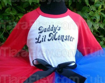 SALE Harley Quinn Suicide Squad Unisex Daddy's Lil Monster Red Sleeve Top Sizes 6 months - XL 14/16 Youth and xs - xxl Adult - Shirt Only