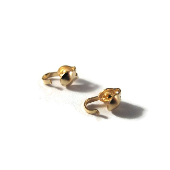 2 Gold Clam Shells, 14/20 Gold Filled Clam Shells, 3.4mm, 2 Pieces, One Set of Gold Clam Shell Bead Tips for Jewelry (F 1110f)