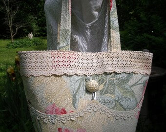 Vintage Barkcloth 1940's Nubby Floral Sage & Deep Rose Large Tote Vintage Trim