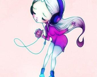 Sing It Like You Dig It - 5 x 7 Print - unicorn girl kawaii decor design anime love illustration drawing art pink headphones music