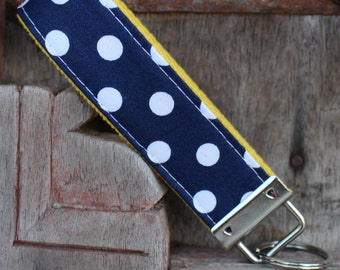 Key Chain-Key Fob-Wristlet- Navy With White Dots On Yellow-READY TO SHIP