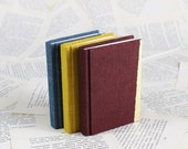 Hardcover Mini Linen Notebook in Burgundy, Yellow or Blue with Gold Leaf Decoration