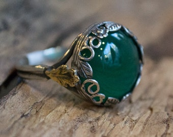 Gold leaf ring, silver crown ring, green quartz ring, high ring, sterling silver ring, oxidized silver ring, two tone ring - Majestic R2069