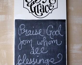 DIY Saying Grace Vinyl lettering - Scripture Memory - Bible Verse - Chalkboard