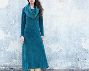ORGANIC VELOUR Super Cowl Long Dress (organic cotton velour ) - organic dress