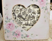 Wood Heart Frame, Hand Painted with Pink Cottage Roses, Black and White Checks, Signature Design, ECS, CSSTeam