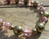 Necklace, Pink and Bronze Acrylic Beads Necklace,  Great Gift Necklace, Inexpensive Gift, Any Age Woman,  Teen or Granny , One of A Kind