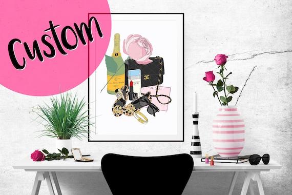 CUSTOM What's in my Bag Portrait Illustration Art Poster