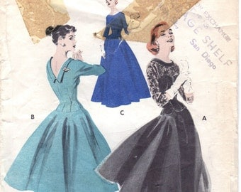 1950s Butterick Junior Misses Dress Sewing Pattern 7550