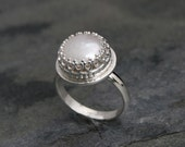 Tudor Pearl Ring, Sterling Silver Freshwater Pearl, Romantic Italian Renaissance, Cocktail Statement Ring, Princess Setting, June Birthstone