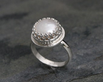 Tudor Pearl Ring, Sterling Silver Freshwater Pearl, Romantic Italian Renaissance, Cocktail Statement Ring, Princess Setting, June Birthstone
