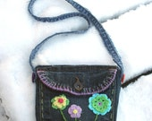 Pocket purse denim old jeans pockets pouch shoulder bag 2 sided emboidered long strap flowers lined