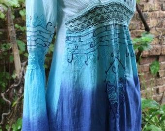 India tie dye dress hippie short dress embroidered medium lace blue