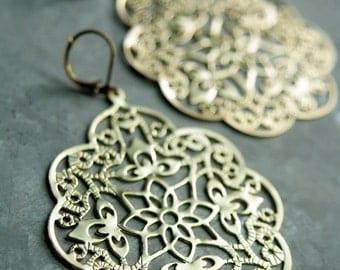 Arabesque Chandelier Earrings, Gold Filigree Drop Earrings, Matte Gold Earring, Chandelier Dangle Earrings, Large Chandelier Earrings