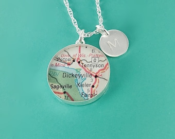 """Grand Journey Vintage Map Sterling Silver 24"""" Necklace.  You Select Journey + Hand Stamped Letter"""