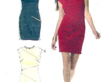 Avant Garde dress cocktail frock for stretch knits McCalls 6243 evening wear style fashion Size 14 to 20 UNCUT