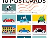 10 Animals on wheels postcards