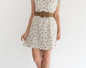 Vintage Cream Butterfly Shift Dress (Size Small/Medium)