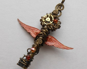 Small Red Winged Key Pendant -- Steampunk Brass Gear Feathered Winged Key, Crystals, Wire Wrapped (A Key to Time) - by Silver Owl Creations