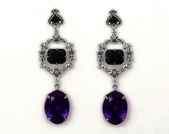 Long Black Earrings Gothic Earrings Black and Purple Swarovski Silver Earrings Gothic Jewelry Women Gift Vampire Gothic Victorian Jewelry