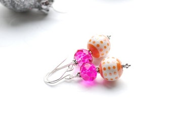Colorful Earrings, Pink and Orange Earrings, Citrus Orange, Hot Pink, Tropical Jewelry, Neon Earrings, Summer Earrings, Polkadot Earrings